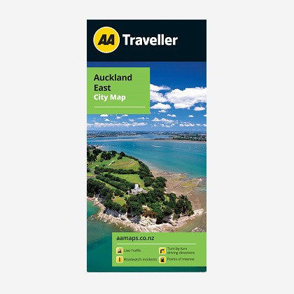 Auckland East City Map includes inset map for Omana Beach & Maraetai. Printed & folded paper map.