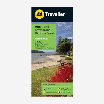 Auckland Kowhai & Hibiscus Coast Town Map includes Orewa, Warkworth, Wellsford & Whangaparaoa Peninsula. Printed & folded paper map.