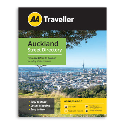 AA Traveller Auckland Street Directory from Wellsford to Pokeno including Waiheke Island. Easy to read. Easy to Use book.