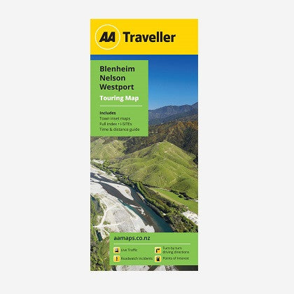 AA Traveller Blenheim-Nelson-Westport Touring Map includes Blenheim, Nelson, Picton & Westport Town Maps, Place names & road names, i-SITEs, Must Do's & Tourist Features and Time & Distance Guide. Printed & folded paper map.