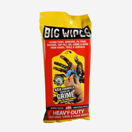 Heavy Duty Big Wipes come in a re-sealable soft packet. Cleans paint, adhesive, PU foam, silicone, gap fill, oil, grime and more from hands, tools and surfaces. Pack of 40 textured, scrub and clean wipes.