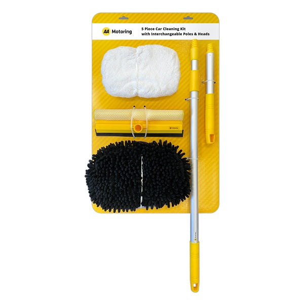 Rectangular yellow cardboard backing displaying 5 components of the car cleaning kit – a white polishing mop head on the top left, a yellow squeegee head with black rubber on the bottom, a black microfibre mop head on the bottom left, an extendable aluminium pole on the right and a short pole on the far right.