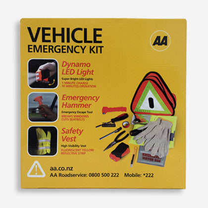 AA Vehicle Emergency Kit - comes in a cardboard box with essential items to help in an emergency/breakdown situation