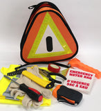 AA Vehicle Emergency Kit contents include emergency torch, blanket, water bag, gloves, hi vis vest, tools and warning triangle. The warning triangle doubles as a bag to keep everything together in its two pockets – the back pocket helps keep the triangle upright in an emergency situation.