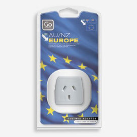 GO Travel single socket earthed adaptor - converts plugs for NZ & Australian appliances for use in Continental Europe including the UK