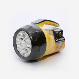 9 LED Superbright Torch - yellow base with black trim. 4 x AA batteries included.