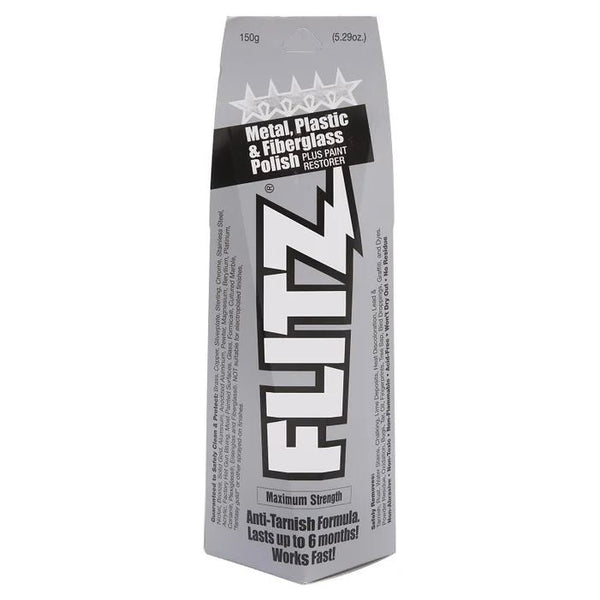 Flitz Polish Paste – 150g tube. Maximum strength anti-tarnish formula lasts up to 6 months. Works fast! Metal, Plastic & Fibreglass polish plus paint restorer.