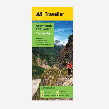 AA Traveller Greymouth-Fox Glacier Touring Map includes Hokitika & Aoraki Mt Cook Town Maps, Place names & road names, i-SITEs, Must-Do's & Tourist features and Time & Distance Guide. Printed & folded paper map.