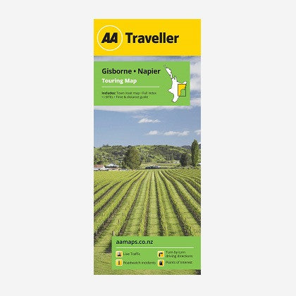 AA Traveller Gisborne-Napier Touring Map includes Town inset map, Full index, i-SITEs and Time & Distance Guide. Printed & folded paper map.