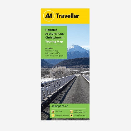 Hokitika-Arthur's Pass-Christchurch Touring Map