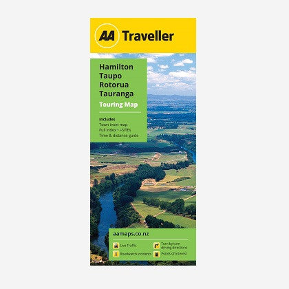 AA Traveller Hamilton-Taupo-Rotorua-Tauranga Touring Map includes Hamilton CBD Map, Place names & road names, i-SITEs, Must-Do's & Tourist features and Time & Distance Guide. Printed & folded paper map.