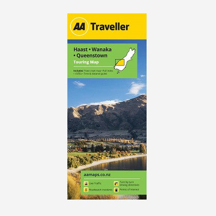 AA Traveller Haast-Wanaka-Queenstown Touring Map includes Arrowtown, Queenstown & Wanaka Town maps, Place names & road names, i-SITEs, Must-Do's & Tourist features and Time & Distance Guide. Printed & folded paper map.