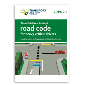 The official New Zealand road code for heavy vehicle drivers - Classes 2, 3 & 5; trucks, trailers, buses and heavy forklifts. Includes license and study guide, and truck loading code. Produced by Waka Kotahi NZ Transport Agency