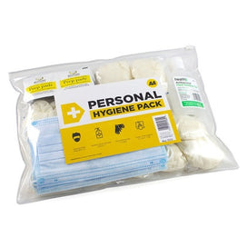 AA Large Hygiene Pack includes disposable face masks and gloves, hand sanitiser and wipes.