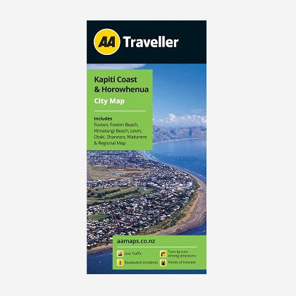 Kapiti Coast & Horowhenua City Map includes Foxton, Foxton Beach, Himatangi Beach, Levin, Otaki, Shannon, Waitarere & Regional Map. Printed & folded paper map.