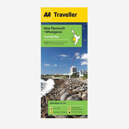AA Traveller New Plymouth-Whanganui Touring Map includes CBD Maps, Full index, i-SITEs, and Time & Distance Guide. Printed & folded paper map.