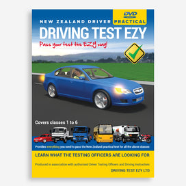 Driving Test Ezy DVD – learn what to expect in your practical driving test. Provides everything you need to pass the NZ practical driving test for all licence classes 1 to 6. Produced in association with authorised Driver Testing Officers and Driving Instructors