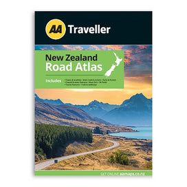AA Traveller New Zealand Road Atlas includes towns & localities, main roads & streets, parks & forests, coastal & water features, must-do's, ski fields, tourist features, trails & walkways. A4 spiral bound book.