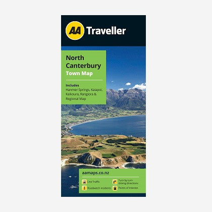 North Canterbury City Map includes Hanmer Springs, Kaiapoi, Kaikoura, Rangiora & Regional Map. Printed & folded paper map.