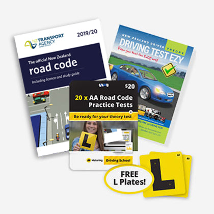 Pre-Learner Drivers Pack includes the latest NZ Road Code, Driving Test Ezy Theory Book, voucher for 20 road code practice tests and a free set of 2 electrostatic L Plates.