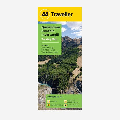 Queenstown-Dunedin-Invercargill Touring Map