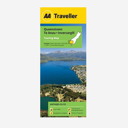 Queenstown-Te Anau-Invercargill Touring Map
