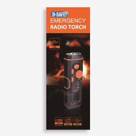 BSafe Emergency Radio Torch with USB input/output ports, torch, radio and siren functions