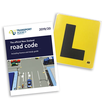 The Essential Learner Driver's Bundle includes the latest NZ Road Code and a set of 2 electrostatic l plates.