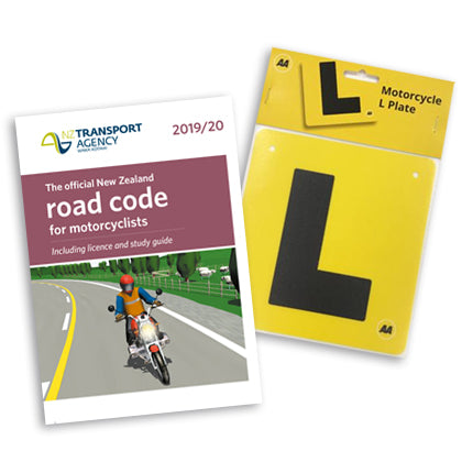 Motorcycle Learner Bundle includes the official New Zealand road code for motorcyclists and one motorcycle L Plate - rigid yellow plastic 160x150mm with black L and AA logo and holes to attach to the back of your motorbike