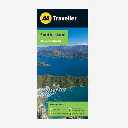 Printed & folded paper map.  Covers the whole of the South Island of New Zealand