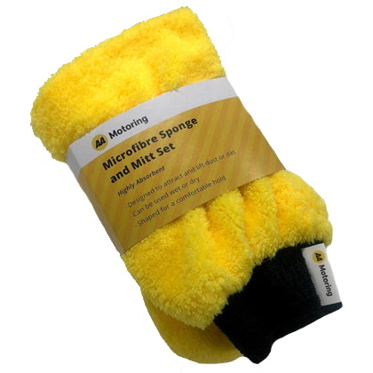 AA Motoring Microfibre Sponge & Mitt Set. Yellow with black elasticated wrist band on the mitt. Highly absorbent; designed to attract and lift dust or dirt; mitt can be used wet or dry; sponge is shaped for a comfortable hold