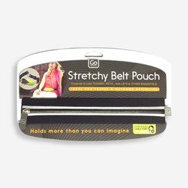 GO Travel Stretchy Belt Pouch - black with reflective trim - Holds more than you can imagine! Expands to hold phones, keys, wallets and other essentials. Includes headphone cable port.
