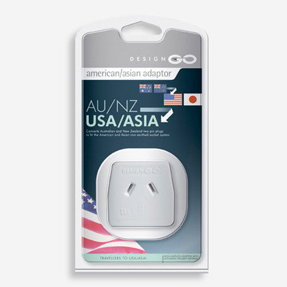 GO Travel single socket non-earthed adaptor - converts 2-pin plugs for NZ & Australian appliances for use in North America and parts of Asia