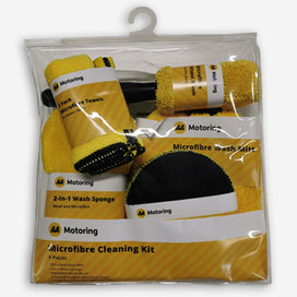AA 9 piece car cleaning kit includes wash sponge, wash mitt, wheel brush, microfibre cloths and wax applicator/polishing pads. A great gift idea, the kit comes packed in a thick clear plastic bag.