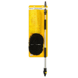 Rectangular yellow cardboard backing displaying a yellow soft bristled brush on the top left, a black microfibre mop head on the bottom left and an extendable aluminium pole on the right.