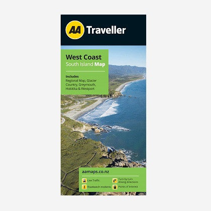 West Coast South Island Map includes Regional Map, Glacier Country, Greymouth, Hokitika & Westport. Printed & folded paper map.