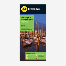 Whangarei Bay of Islands City Map includes Regional Map, CBD Enlargement, Kaitaia, Kerikeri, Dargaville and Mangawhai. Printed & folded paper map.
