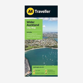 Wider Auckland City Map includes CBD Enlargement and coverage from Auckland Airport to the North Shore. Printed & folded paper map.