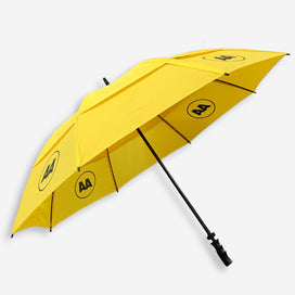 AA vented umbrella. Bright yellow umbrella canopy with 4 x black AA logos. Black handle and framework.