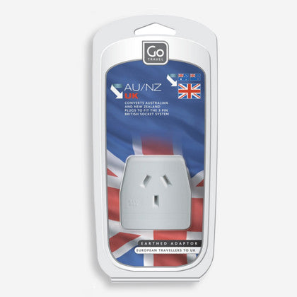 GO Travel single socket earthed adaptor - converts plugs for NZ & Australian appliances for use in the United Kingdom