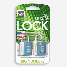 GO Travel TSA secure locks pack of 2 feature big numbers that make it easier to see your code.