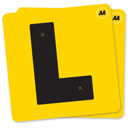 Set of 2 AA Electrostatic L Plates for Class 1 learner drivers in New Zealand. Yellow L Plates with Black L and AA logo - conforms to NZTA regulations