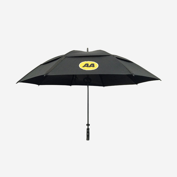 Black golf umbrella, with yellow AA logos printed on the vented canopy.