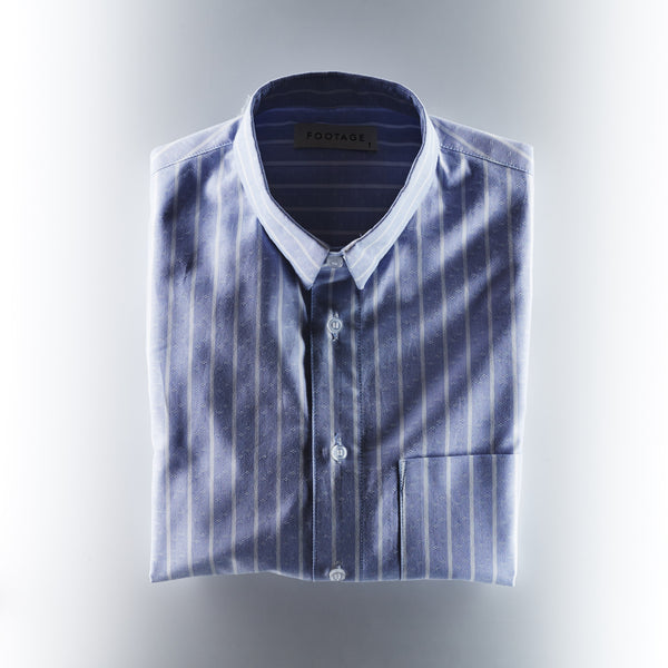Footage Oxford Shirt with Pin Stripes - Blue