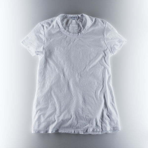 James Perse Womens Sheer Slub Crew Neck Tee - White