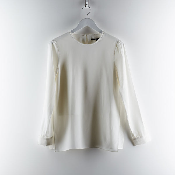 Tibia Silk Crepe de Chine CDC Layered Long Sleeve Top - White