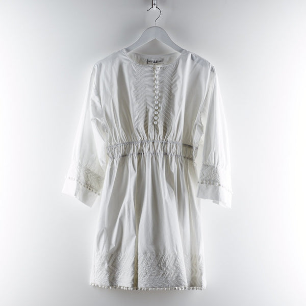 Apiece Apart Allende Embroidered Dress White