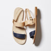 Capri Positano Sandals - Double Band Sling - Navy/Natural