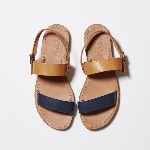 Capri Positano Sandals - Double Band Sling in Navy/Natural