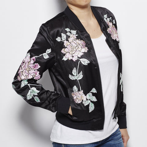 Satin Bomber Jacket with Floral Embroidery - Black